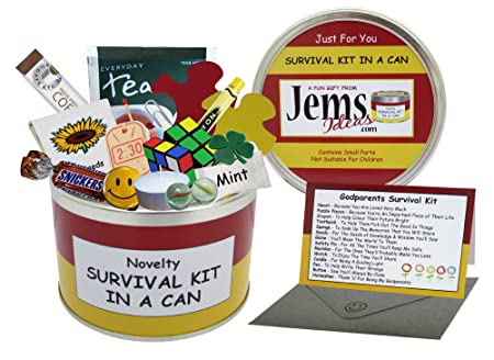 Godparents Survival Kit In A Can Novelty Fun Gift Humorous