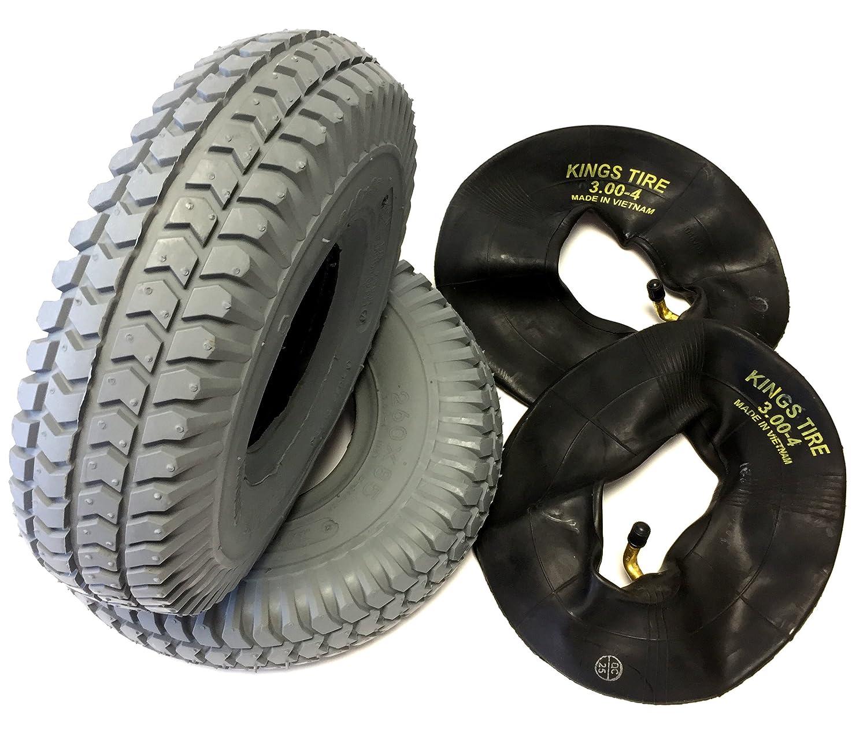 Lot de 2 pneus de fauteuil roulant - 260 x 85 mm - Gris - Avec 2 valves d'angle pneumatiques - Structure robuste - Pour scooter