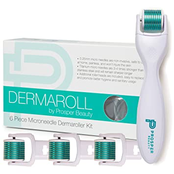 7d0a6d254ac85 Amazon.com: Derma Roller Microneedle 6 Piece Kit [DERMAROLL by Prosper  Beauty] Face Roller with 4 Replaceable Heads Exfoliation Microdermabrasion  Micro ...