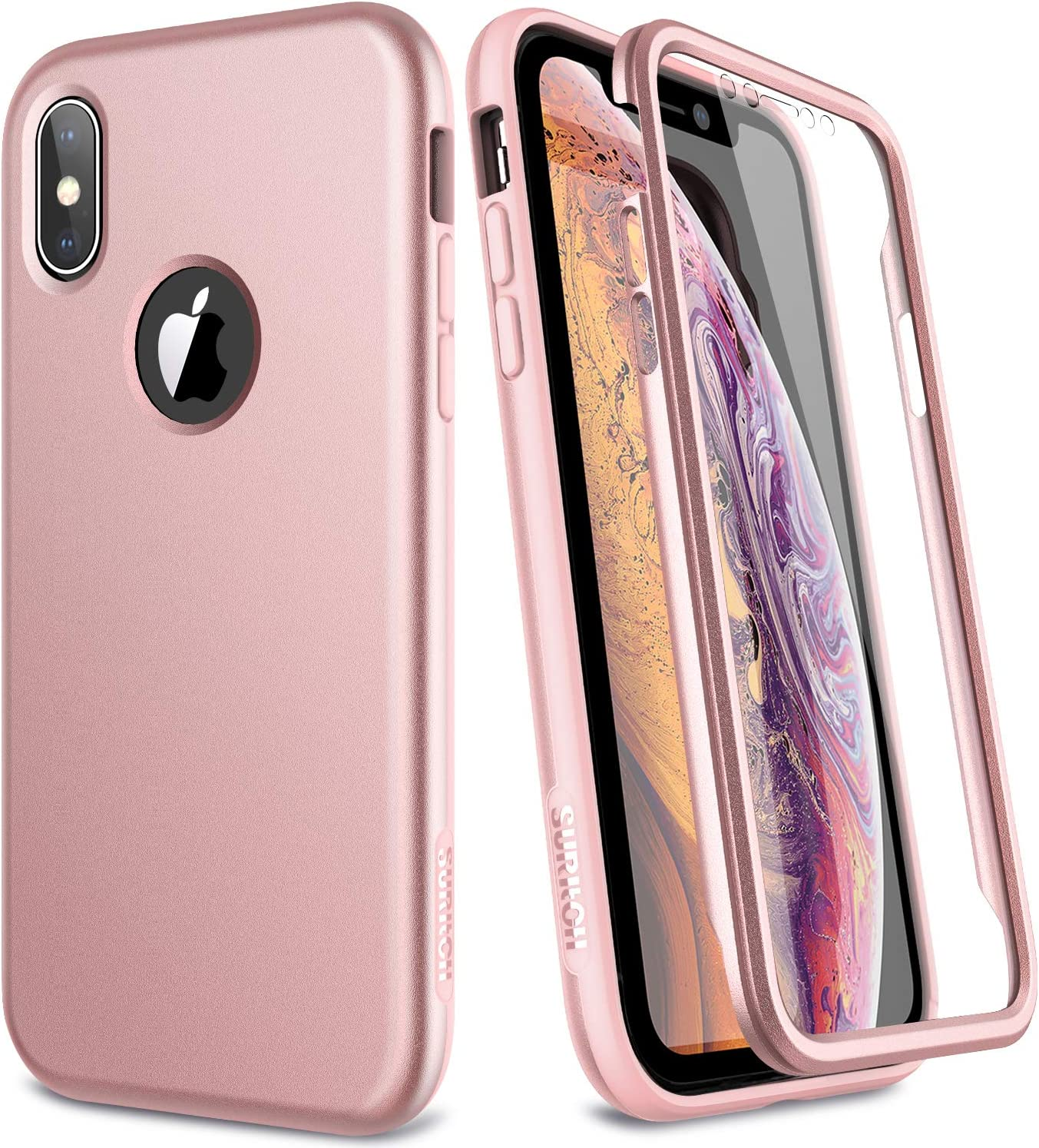 SURITCH iPhone Xs Case/iPhone X Case, [Built-in Screen Protector] Matte Full-Body Protection Hard PC Bumper + TPU Rubber Shockproof Cover Compatible with Apple iPhone Xs/iPhone 10 (Rose Gold)