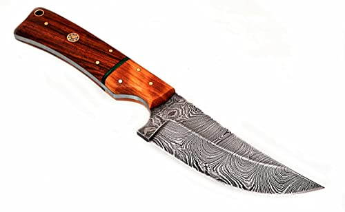 Randy knives RA-9015 Eye catching Damascus Steel Hunting Knife with Real Leather Sheath.