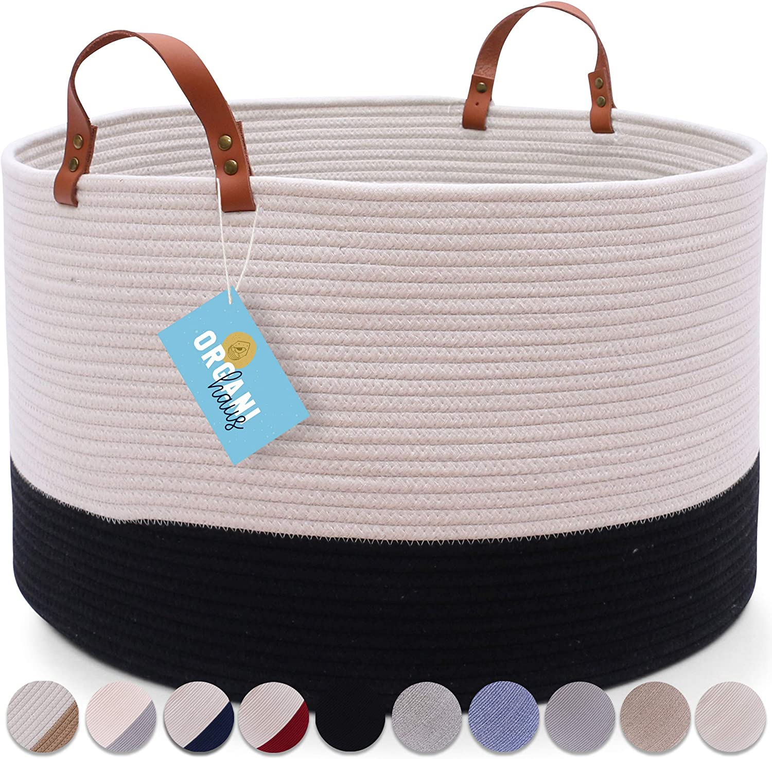 "OrganiHaus XXL Extra Large Cotton Rope Basket with Real Leather Handles | Wide 20""x13.3"" Coiled Rope Basket 