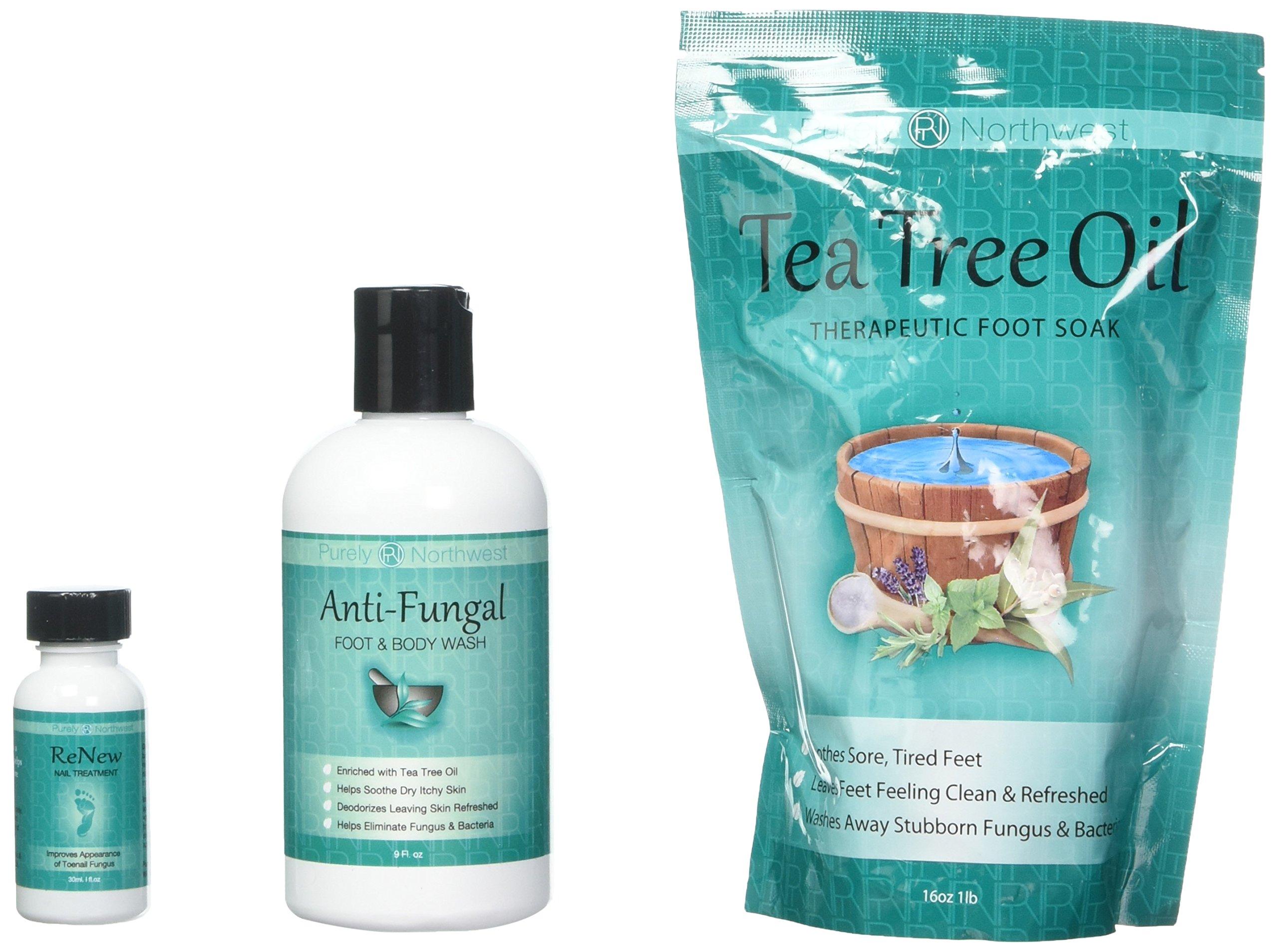 Purely Northwest Foot and Toenail System with 16 oz Tea Tree Oil Foot Soak, 9 fl oz Antifungal Wash and 1 fl oz ReNew Nail Solution