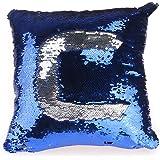 OULII Tono dos DIY Glitter lentejuelas tiro fundas y cubiertas Color cambiar escala euros amortiguador decorativo hogar sofá funda de almohada - azul
