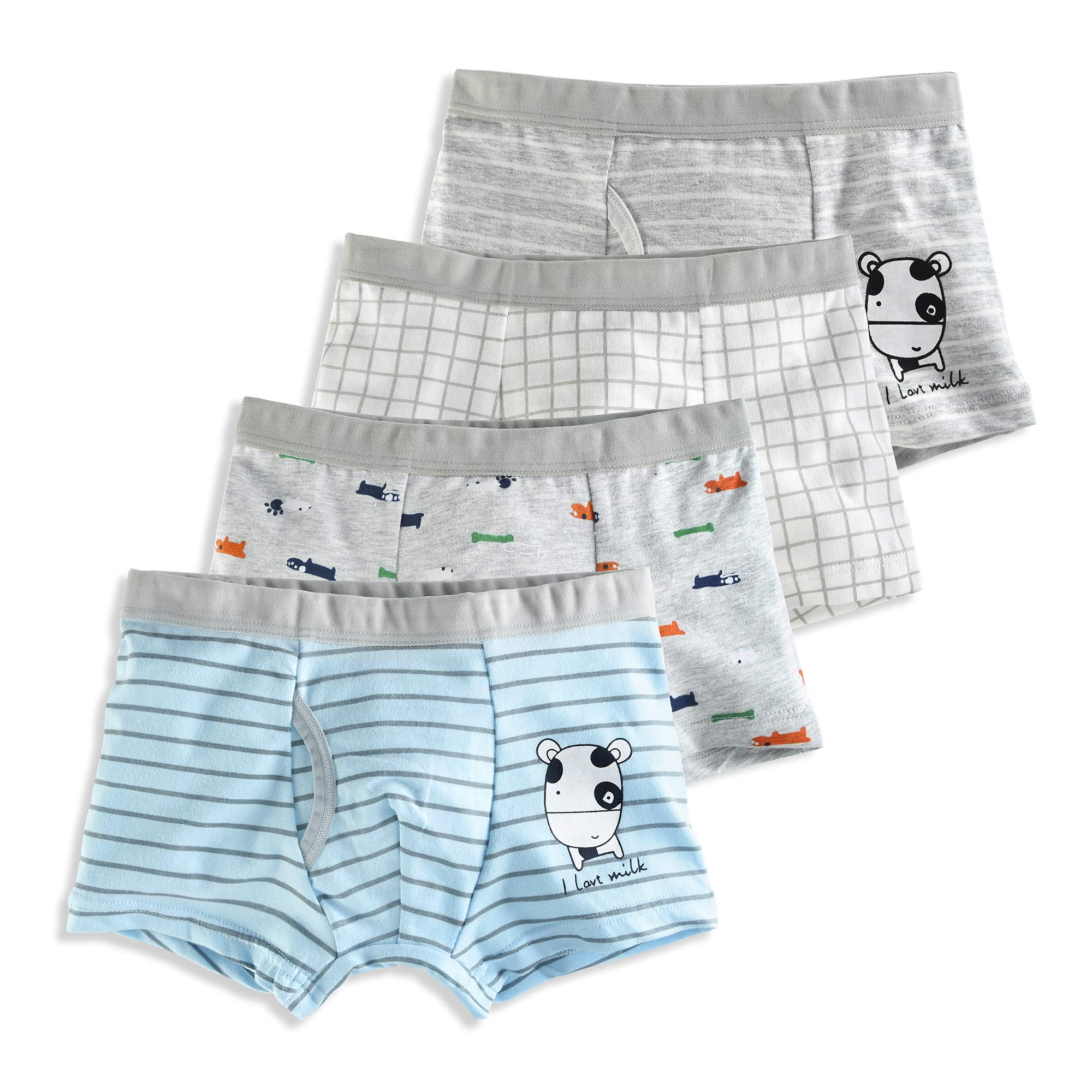 slaixiu Soft Cotton Kids Underwear Cartoon Boys Boxer Briefs 4-Pack (UW75-No.8-120)