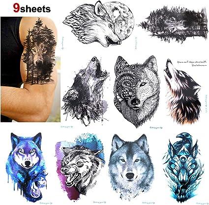 Konsait 9 hojas Lobo Tatuajes temporales para adultos hombre Mujer ...