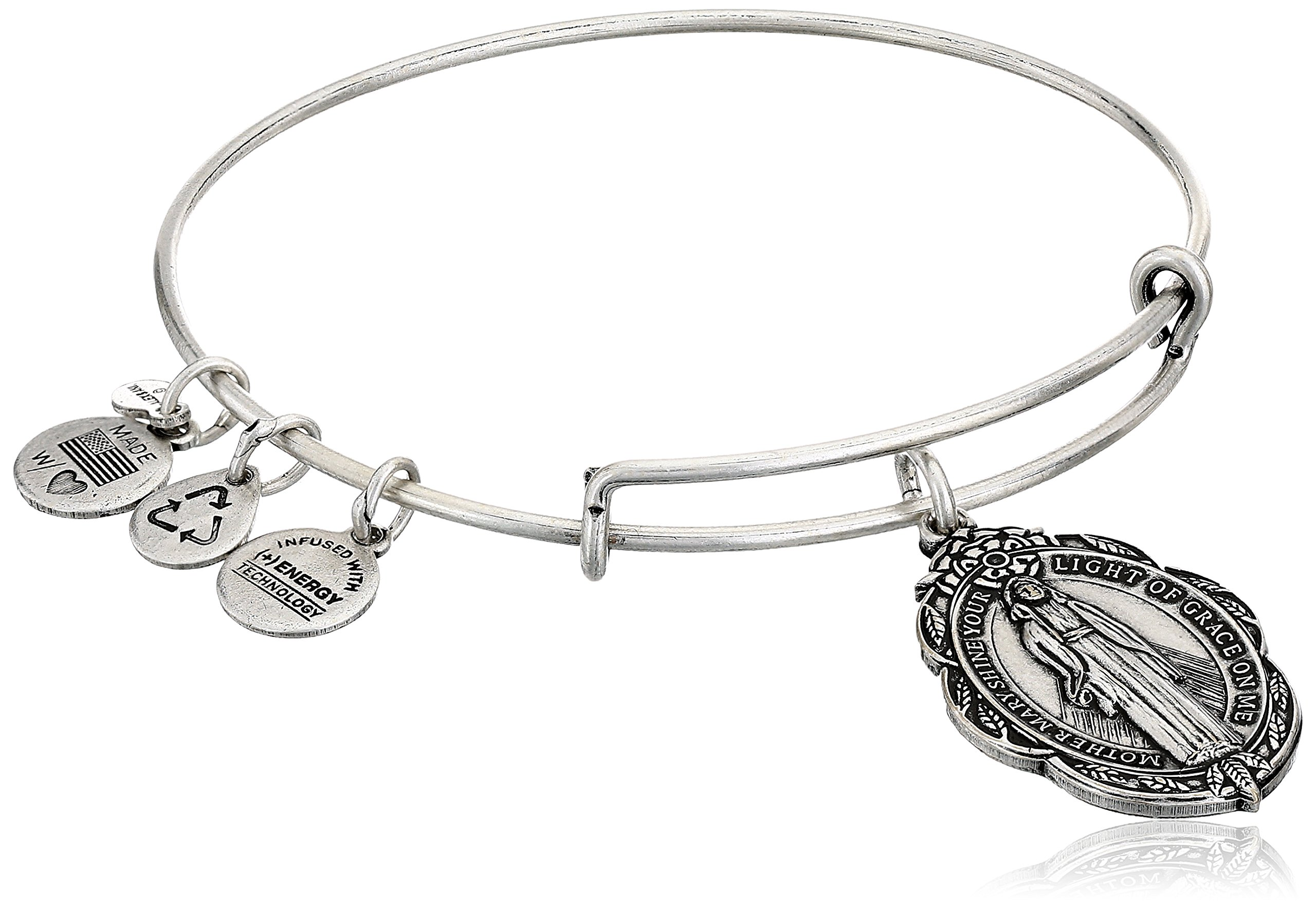 Alex and Ani Mother Mary Charm Bangle in Rafaelian Silver, A14EB21RS, 2.5''