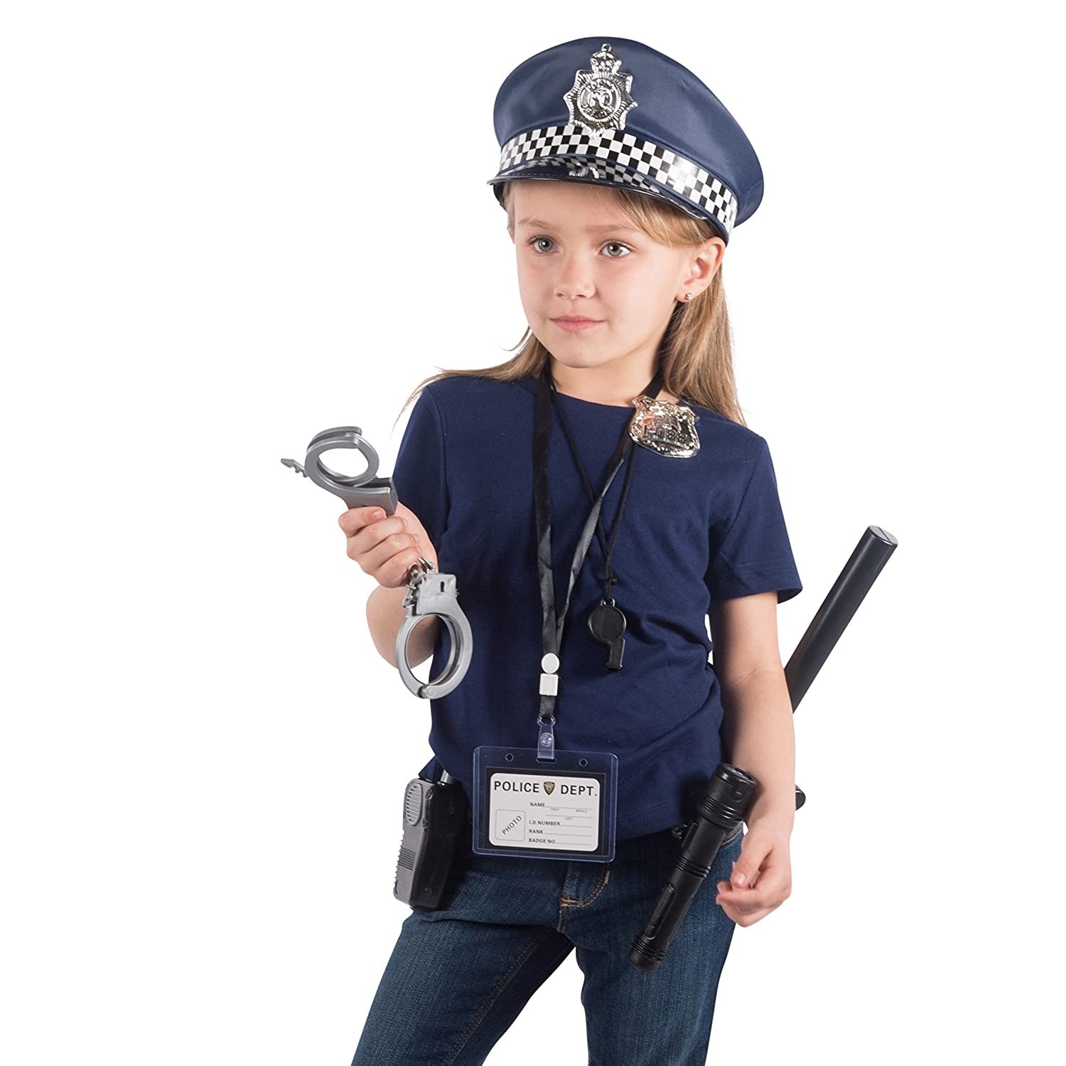 amazon com police toys police chief kids roll play set with hat