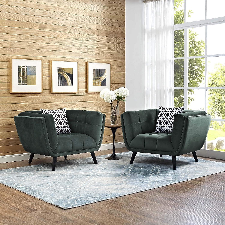 Modway EEI-2983-GRN-SET Bestow Upholstered Velvet Fabric Button-Tufted Armchairs – Set of 2 Green