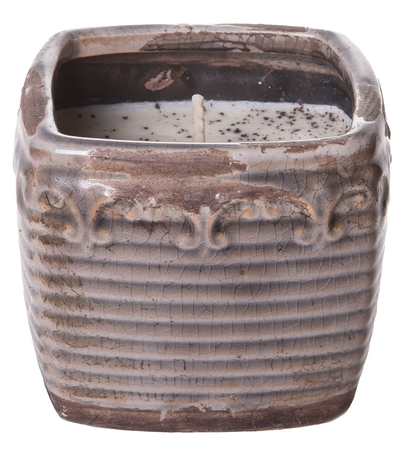 Swan Creek 10 Ounce Lavender & Lemongrass American Soybean Wax Candle in Vintage Square Pottery 80785
