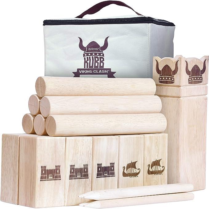 Goki Spielzeug Holz Groß Kubb Viking Schach Spiel Innen Aussen 25 cm Groß King