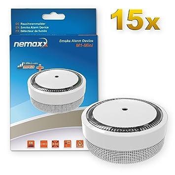 15x Nemaxx Detector de Humo M1-Mini sensibilidad fotoeléctrica - con batería de Litio Tipo