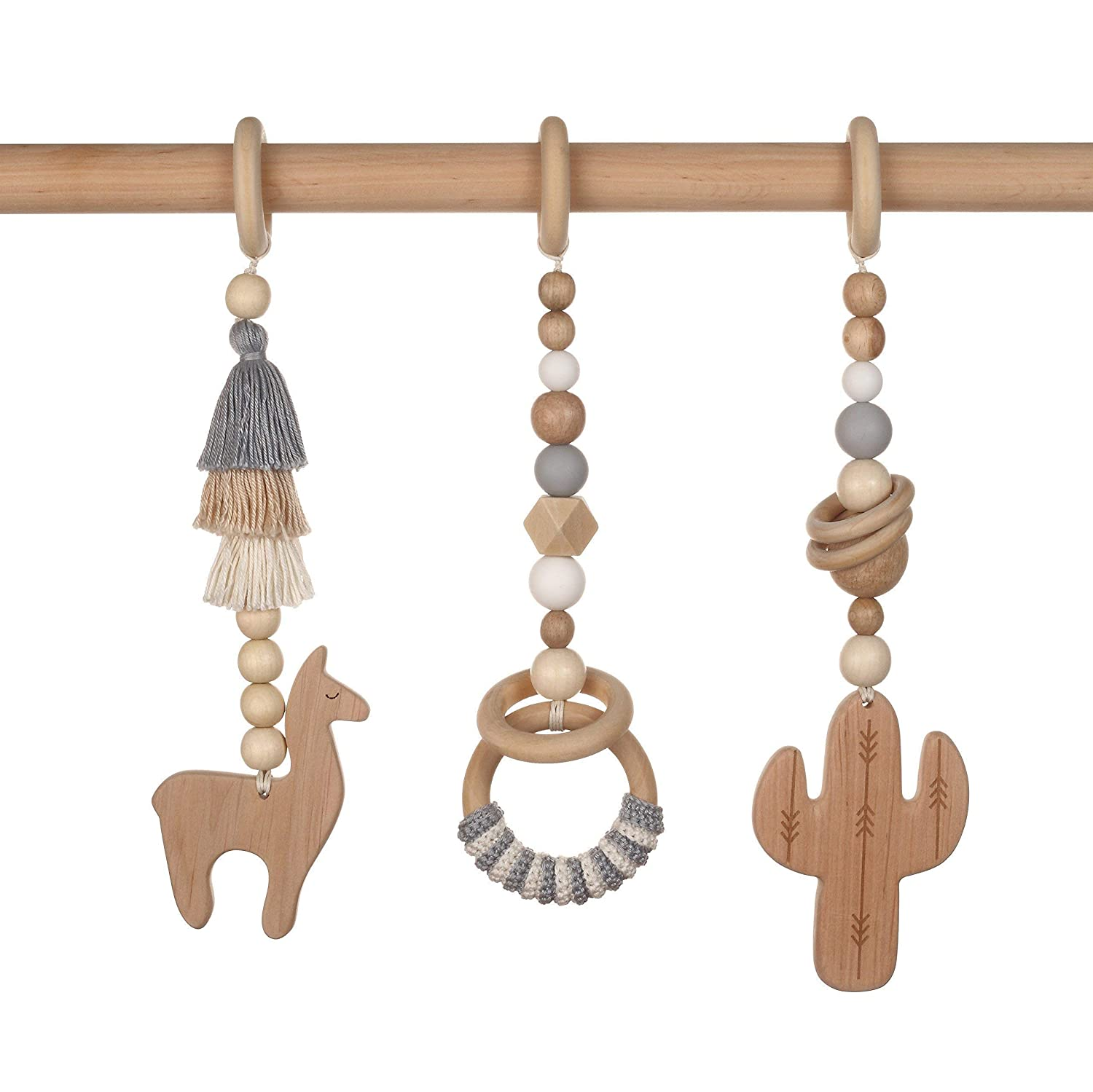 Wooden baby gym mobiles. Set of 3: llama, cactus, ring. Desert. Boho. Travel. Play Gym Wood Accessory. Activity center. Baby Shower Gift.