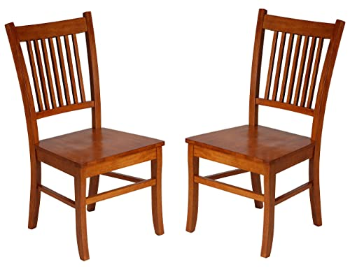 Cortesi Home America Mission Style Wooden Dining Chairs, Set of 2, Honey Oak