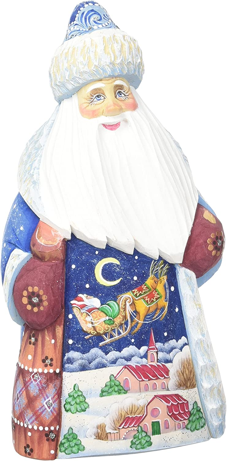 Amazon Com G Debrekht Up Up Away Santa Hand Painted Wood Carving Home Kitchen