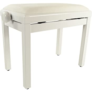 Gearlux Adjustable Piano Bench With Velvet Top   White Gloss