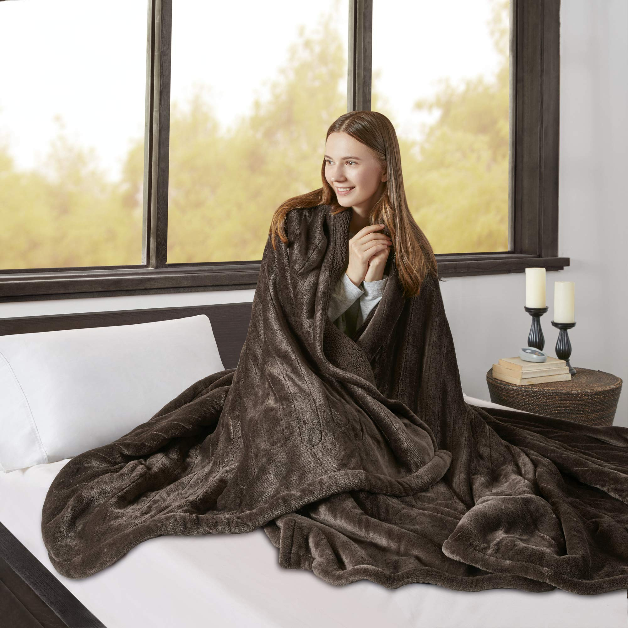 Beautyrest Elect Electric Blanket with Two 20 Heat Level Setting Controllers, Full, Chocolate