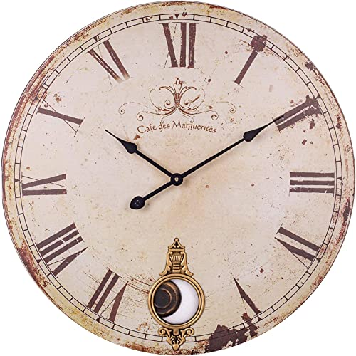 BEW Wall Clock with Pendulum, 24-Inch Vintage Rustic Decorative Clock with Roman Numerals, Silent Non-Ticking Battery Operated Pendulum Clock for Living Room, Dining Room, Bedroom, Kitchen