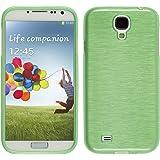 PhoneNatic Case für Samsung Galaxy S4 Hülle Silikon grün brushed Cover Galaxy S4 Tasche Case
