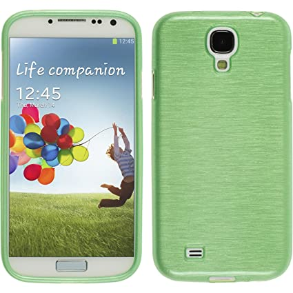 PhoneNatic Case para Samsung Galaxy S4 Funda Silicona Verde Brushed Cover Galaxy S4 Funda Case