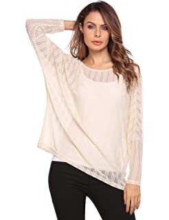 69f0ab37212f53 Zeagoo Women s Crochet Blouse Batwing Long Sleeve Shirt Lace Sheer Tops