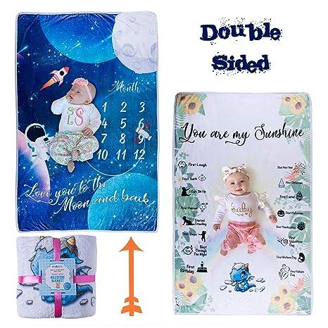 Amazon.com: Manta de doble cara con diseño de hito para bebé ...