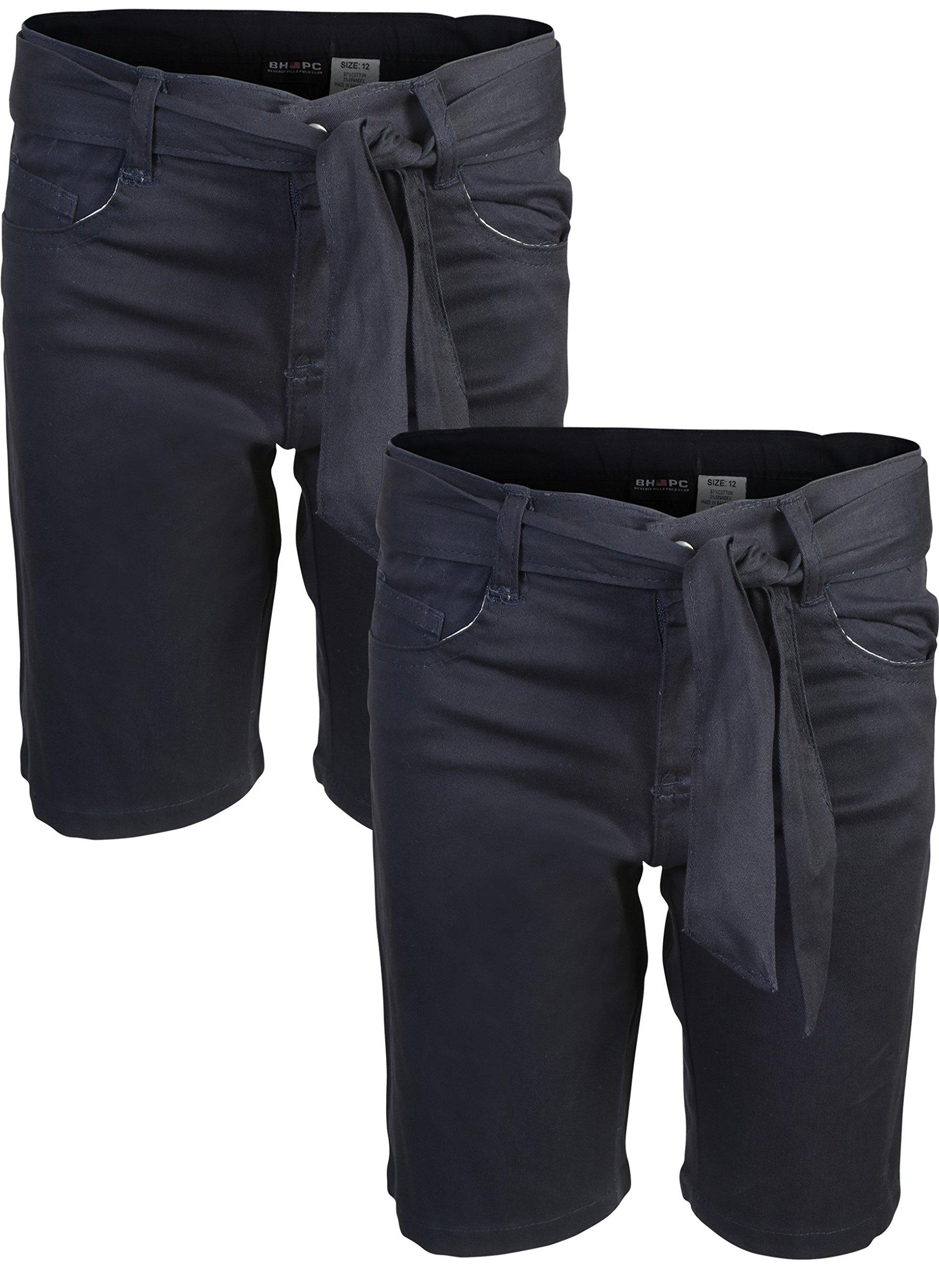 Beverly Hills Polo Club Girls School Uniform Belted Bermuda Shorts, Navy, Size 14'