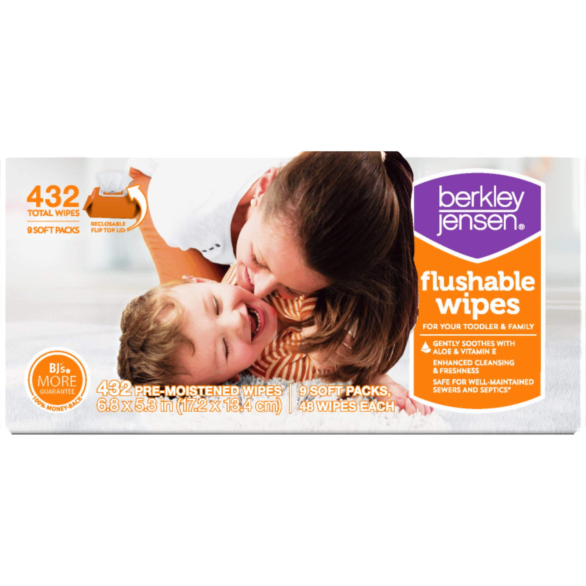 Berkley Jensen Family & Toddler Moist Flushable Wipes, 432 ct. (pack of 6)