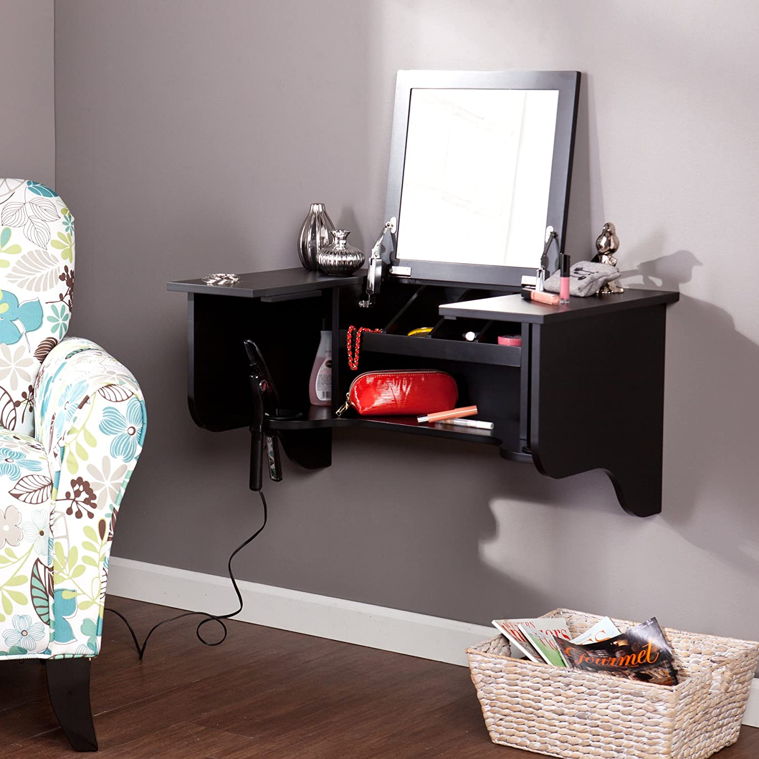 Exceptionnel Amazon.com: Southern Enterprises Wall Mount Shelf With Vanity Mirror, Black  Finish: Kitchen U0026 Dining