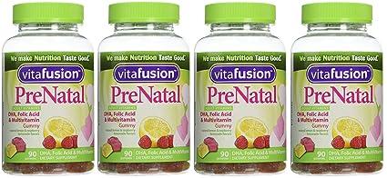 Vitafusion Prenatal - Gominolas de vitaminas, 4 paquetes, 90 unidades