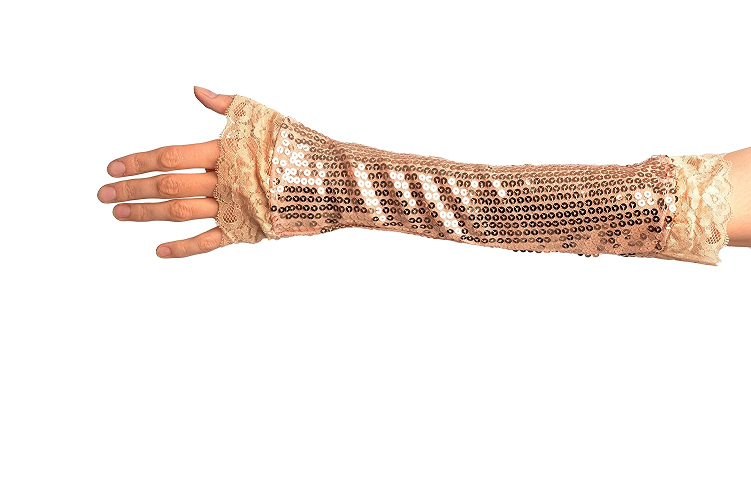 Gloves Gold Sequin Elbow Party Gloves With Lace