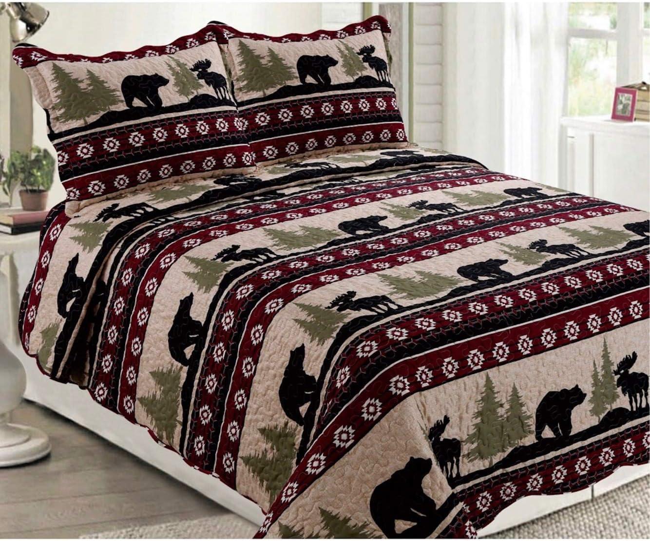 Elegant Home Native American Wildlife Bear and Moose Wilderness Cabin Lodge Life Beige Green Black Burgundy Rustic Western Design 3 Piece Coverlet Bedspread Quilt # 017 (King Size)