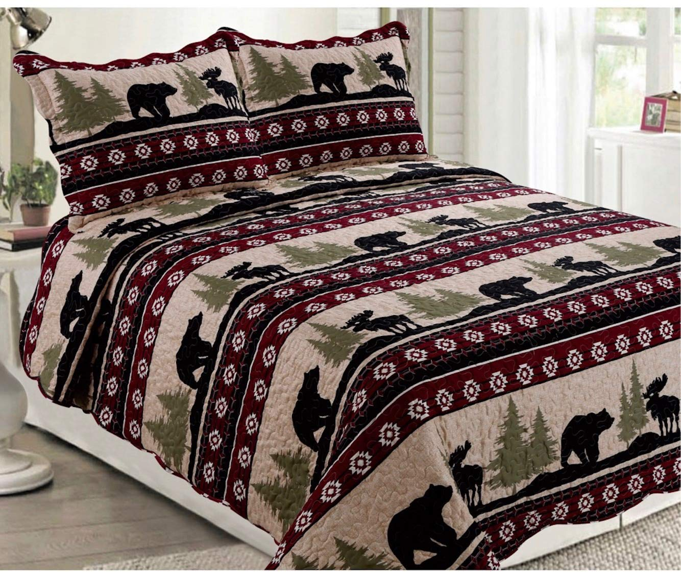 Elegant Home Rustic Western and Native American Wildlife Bear and Moose Wilderness Cabin Lodge Life Beige Green Black Burgundy Design 3 Piece Coverlet Bedspread Quilt # 17017 (King Size) Elegant Home Decor
