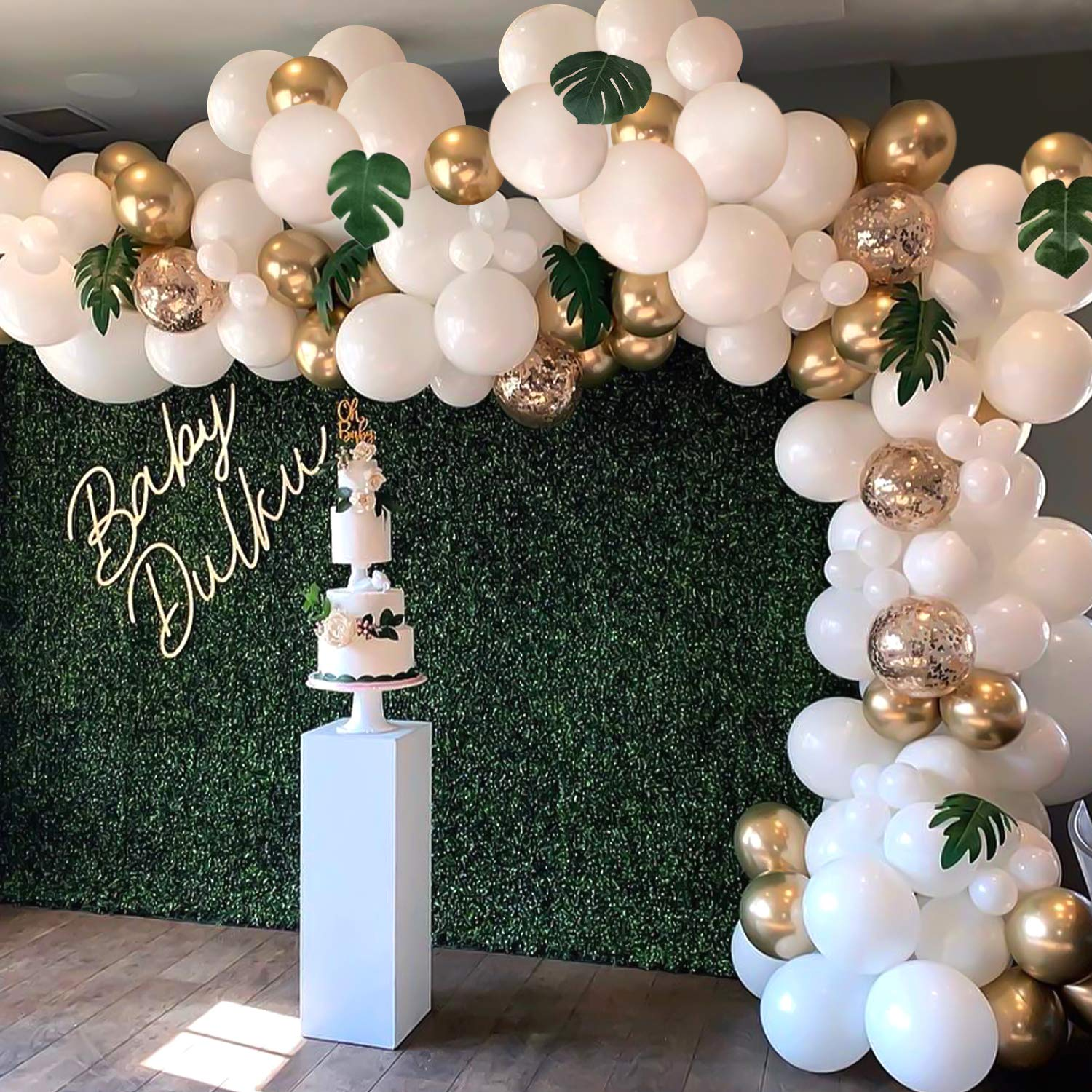 Balloon Garland Arch Kit, White Gold Confetti Balloons 101 PCS, Artificial Palm Leaves 6 PCS, Balloons for Parties, Party Wedding Birthday Balloons Decorations, Baby Shower Decorations for Girl Boy by DREAMWELL