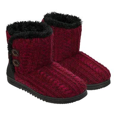 4c7cf487b Dearfoams Womens Memory Foam Sweater Knit Bootie Slippers, M, Red Marl