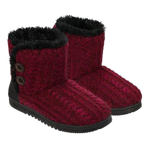 14fea117719 Dearfoams Women's Memory Foam Sweater Knit Indoor/Outdoor Bootie Slippers