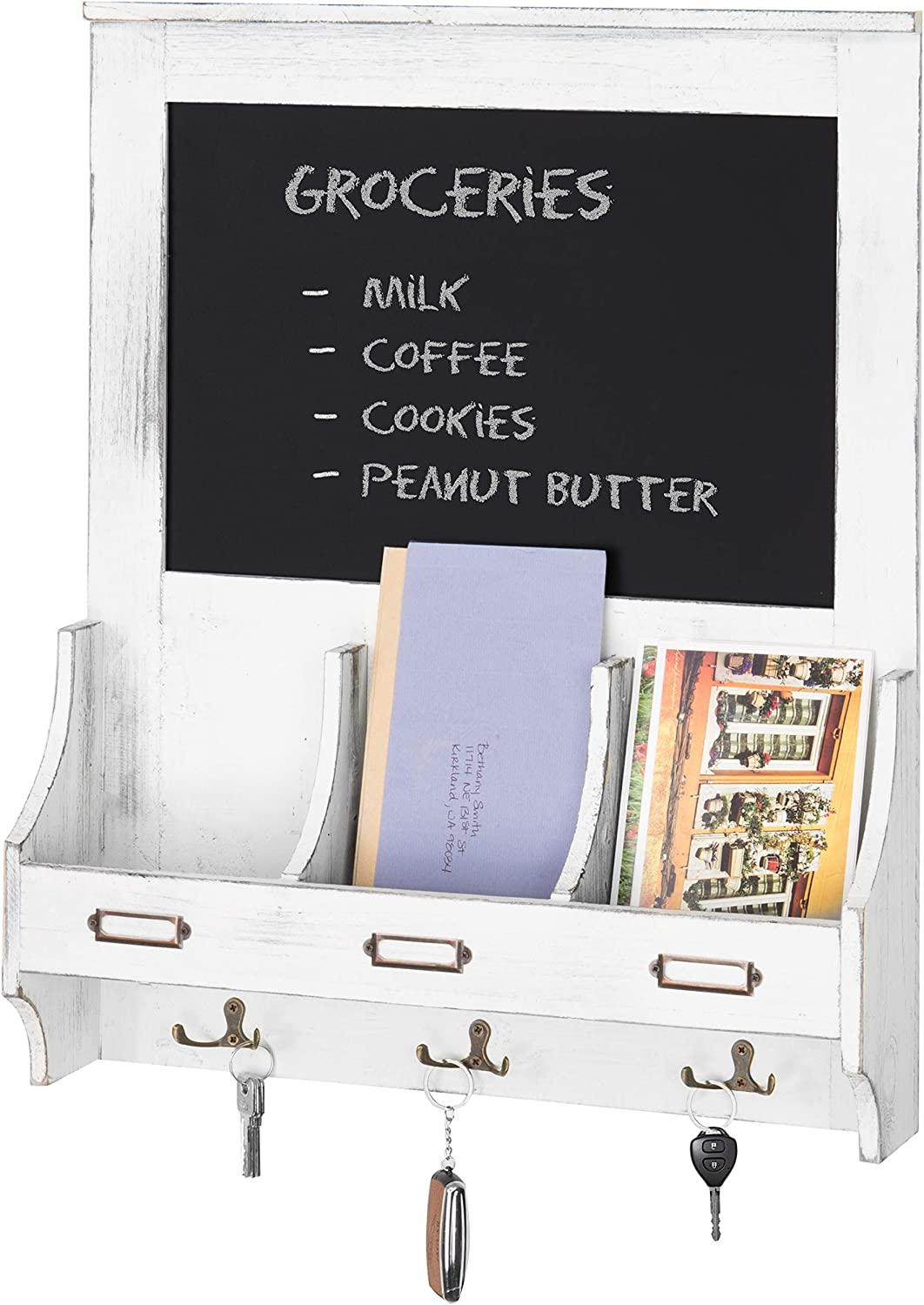 MyGift Vintage White Wood Wall-Mounted Mail Organizer with Chalkboard and Key Hooks