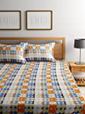 Bombay Dyeing Elements 120 TC Polycotton Double Bedsheet with 2 Pillow Covers - Orange
