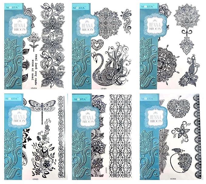 Amazon.com: 6 sheets wholesale black lace elegant tattoo Body art ...