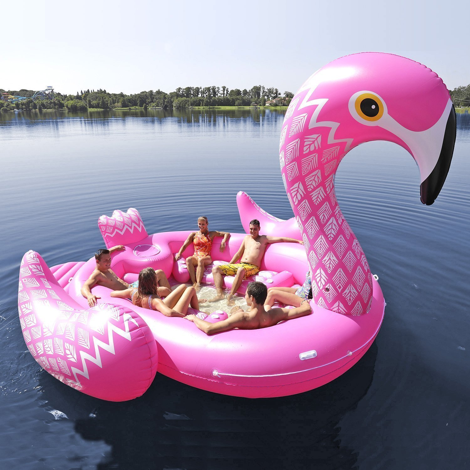 Sun Pleasure Party Bird Island Giant Flamingo Float - Fast Speed Pump Included - Flamingo with Pump and Carrying Bag - use in Lake, Ocean, River, Pool Floats for up to 6 People by Sun Pleasure (Image #2)