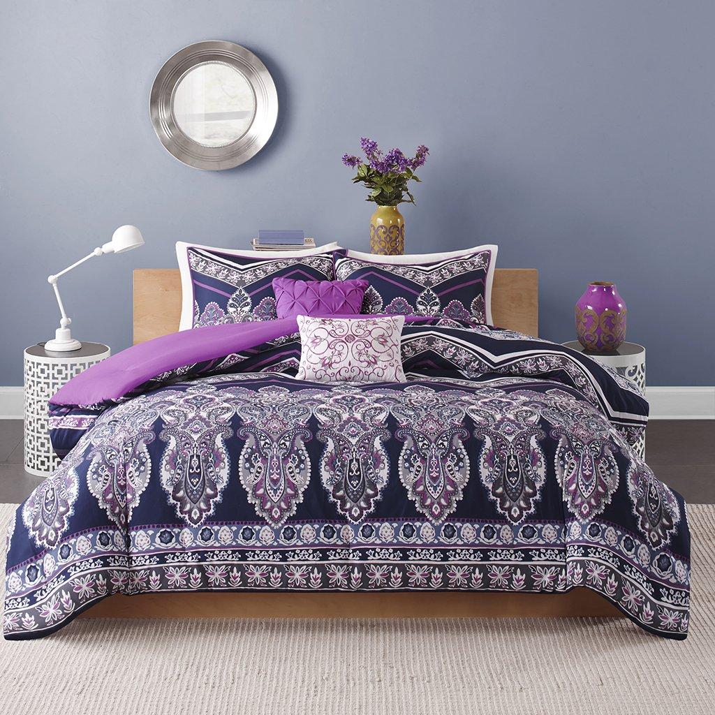Blue and purple bedding - Amazon Com Intelligent Design Adley All Seasons Comforter Set 5 Piece Purple Geometric Pattern Full Queen Size Includes 1 Comforter 2 Shams