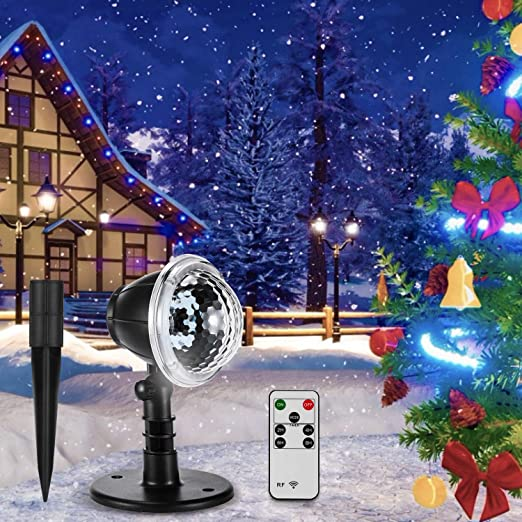 Vogek - Proyector de luz LED con forma de copo de nieve, proyector ...