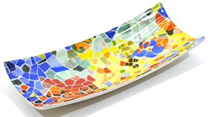 ART ESCUDELLERS Porcelain SMALL TRAY BAMBU decorated in TRENCADIS Gaudí style. (Colour AURORA)