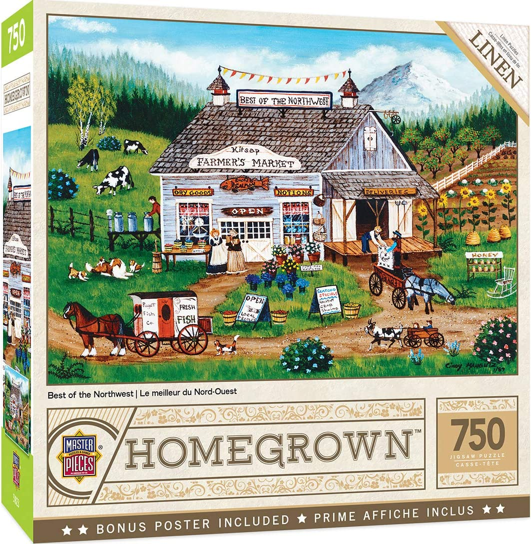 """MasterPieces Homegrown Best of the Northwest Puzzle (750 Piece), Multicolored, 18""""X24"""""""