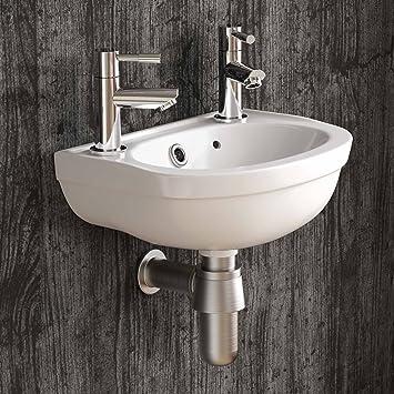 Perfekt Klein Rund Wand Hängen Waschbecken 2 Hahnloch Garderobe Badezimmer  Waschbecken Ca607wbs