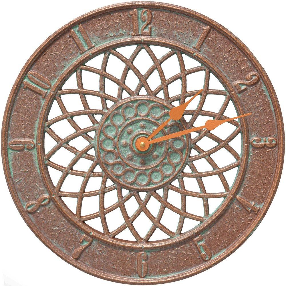 MD Group Outdoor Clock - Spiral, 14'' x 14'' x 1.25'' x 8 lbs, Copper Verdi