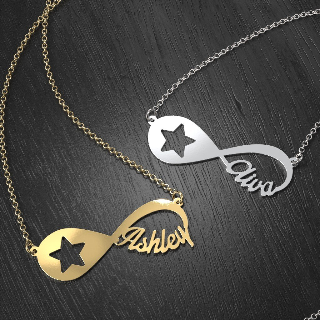 Star Bright Personalized Infinity Name Necklace by JEWLR 14K Gold Star Light
