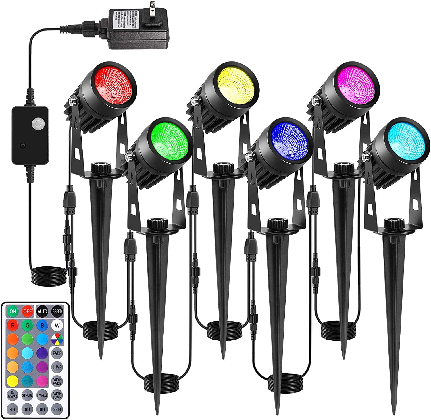ECOWHO Low Voltage Landscape Lights, 65ft/20m 12V LED RGB Landscape Lighting with Remote Timer IP65 Waterproof Outdoor Spotlight Plug-in Color Changing Pathway Lights for Garden Yard Patio (6 Pack)