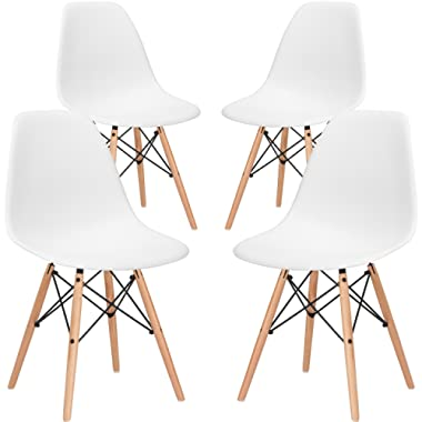 Poly and Bark Modern Mid-Century Side Chair with Natural Wood Legs for Kitchen, Living Room and Dining Room, White (Set of 4)