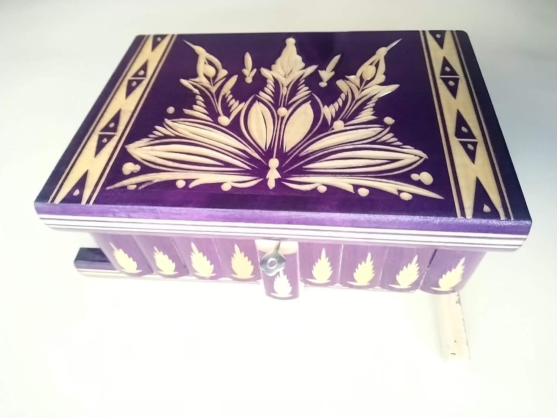 Grande caja puzzle enorme del rompecabezas violeta caja secreta mágica de joyería de almacenaje de madera caja tallada de la sorpresa, juguete de madera para los cabritos: Amazon.es: Handmade